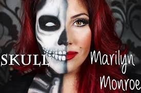 half skull and half marilyn monroe classic eyes and red lip