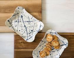 unique serving platters ceramic white bowl unique serving platter blue splash