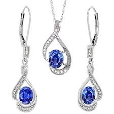 blue sapphire necklace set images 14k white gold diamond natural blue sapphire lever jpg