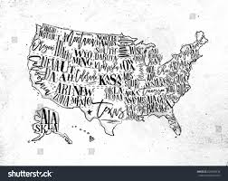 Us Maps With States Vintage Usa Map States Inscription California Stock Vector