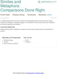 similes and metaphors comparisons done right lesson plan