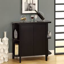 Portable Bar Cabinet Furniture Black Stained Hardwood Small Bar Sotrage Furniture With