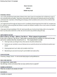 Sample Of Driver Resume by Delivery Van Driver Cv Example Icover Org Uk