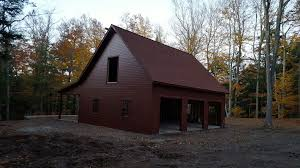 3 Car Garage House Built On Site Custom Amish Garages In Oneonta Ny Amish Barn Company