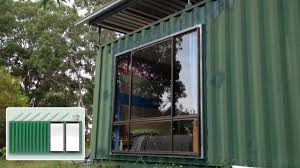 shipping container house installing a large window youtube