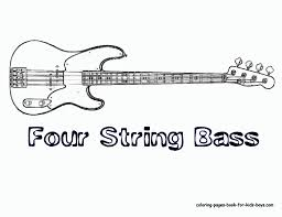 bass guitar with four string musical instrument for boys coloring