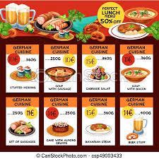 cuisine en allemand cuisine allemand menu coût vecteur cartes allemand
