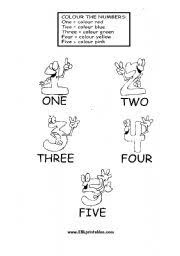 worksheet colour the numbers 1 5
