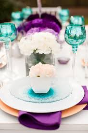 Teal Table L 19 Purple And White Table Settings Purple And White Wedding Table