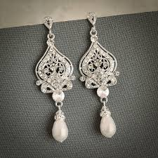 vintage wedding earrings chandeliers wedding earrings bridal earrings swarovski pearl chandelier