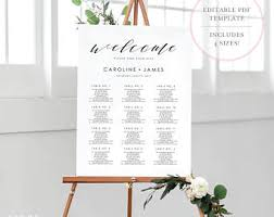Wedding Seat Chart Template Wedding Seating Chart Etsy