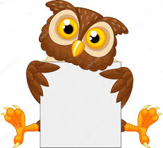 cute owl cartoon holding blank sign u2014 stock vector tigatelu
