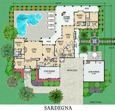 luxury home plans with elevators coastal luxury italian house plan sardegna first floor 7 bedrooms