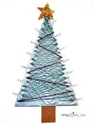 diy yarn wrapped christmas tree card holder