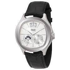 piaget emperador piaget emperador coussin silver black leather automatic men s