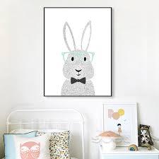 affiche chambre enfant lapin de dessin animé toile print affiche de peinture mur