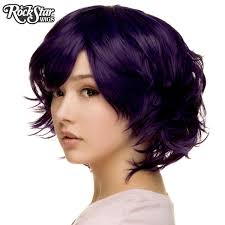 cosplay wigs usa boy cut short shag purple black 00522