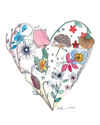 valentines day floral heart watercolour zentangle art drawing 8x10