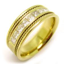 mens yellow gold wedding bands 1 5ct princess cut channel set men s yellow gold diamond wedding