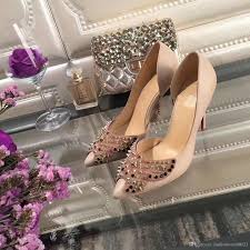 2017 new brand high heel shoes with butterfly crystal women