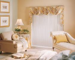 swag curtain valance over wood blinds inside living room valances