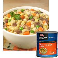 mountain house freeze dried vegetable stew with beef 10 can 30113