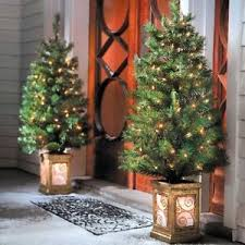 set of 2 pre lit porch trees indoor outdoor lighted yard