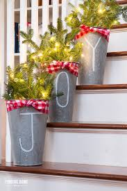 Tin Buckets For Centerpieces by 10 Minute Christmas Decorating Idea Chalk Pen Galvanized Buckets
