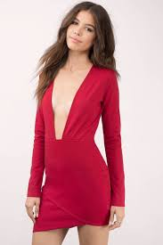 red bodycon dress red dress long sleeve dress red stretch