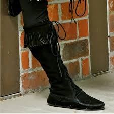 womens fringe boots size 11 28 minnetonka shoes black minnetonka knee high fringe boots