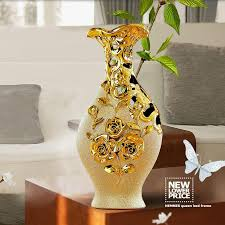 Home Decoration Gifts High Quality Jingdezhen Ceramic Gold Plating Vase For Home Decor