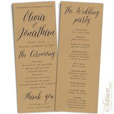 wedding program wedding programs 4 25 x 11 kraft artision