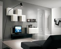 enticing gray living room design idea with white modular wall