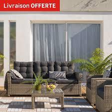 lolet canapé canapé 3 places de jardin en résine tressée daveport beige leroy