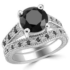 wedding ring set for 3 35ct alternating black white diamond engagement ring set