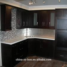 Factory Direct Kitchen Cabinets Foshan Factory Selling Espresso Shaker Solid Wood Kitchen