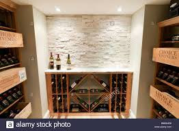 wine cellar in luxury residential home with multiple racks of