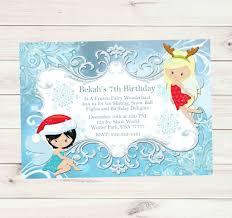 christmas fairies snowflake birthday party invitations custom