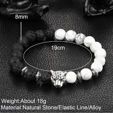 silver bracelet with black stones images Silver plated buddha leopard head lava natural stone bracelets4all jpg