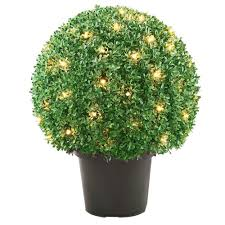 Topiary Balls With Flowers - 22 in mini boxwood ball shaped topiary tree with 70 clear lights