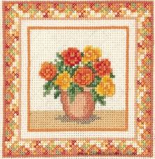 floral begonias miniature floral cross stitch kit from
