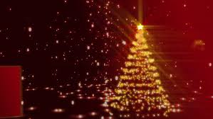 orange christmas tree of glowing particles computer generated
