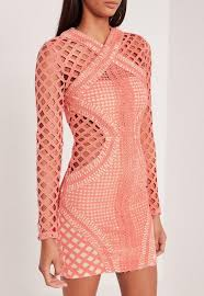 cut out dresses carli bybel sleeve lace cut out bodycon dress pink missguided