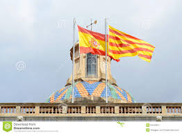 flag of spain and catalonia barcelona spain stock image image