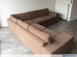 grand canapé d angle en tissu canapé d angle en tissu de couleur marron a vendre 2ememain be