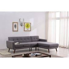 mid century modern large linen sectional sofa right facing