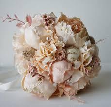 Shabby Chic Wedding Bouquets by Peony Bridal Bouquet Silk Wedding Flowers Champagne Wedding