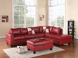 Red Ottoman G309 Sectional Sofa In Red Bonded Leather By Glory W Ottoman