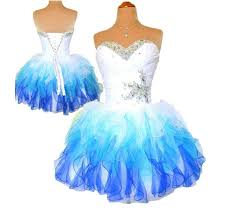 2015 multi homecoming dress royal blue and white ombre corset and