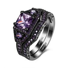 compare prices on amethyst engagement amazon com fendina princess cut black gold engagement ring